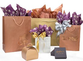 metallic aubrey paper shopping bags
